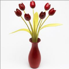 7 red Tulips with 3 green leaves with matching red 'classic' vase